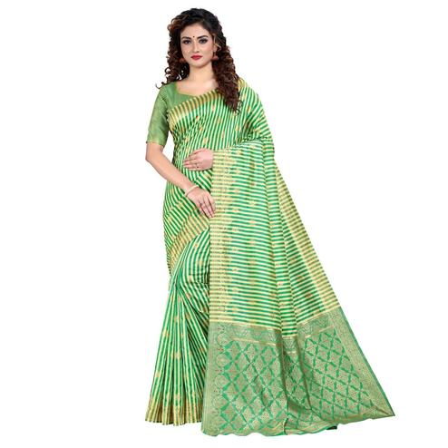Vbuyz - Women's Green Colored Festive Wear Striped Woven Art Silk Saree