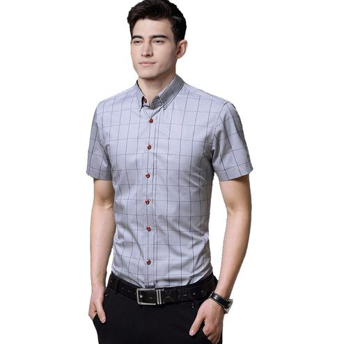 Indo Primo - Grey Colored Casual Wear Pure Cotton Shirt