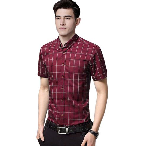 Indo Primo - Red Colored Casual Wear Pure Cotton Shirt