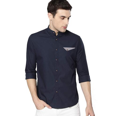 Indo Primo - Navy Blue Colored Casual Wear Pure Cotton Shirt