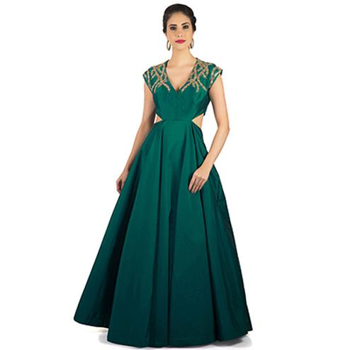 Gorgeous Green Designer Partywear Embroidered Heavy Taffeta Silk Gown