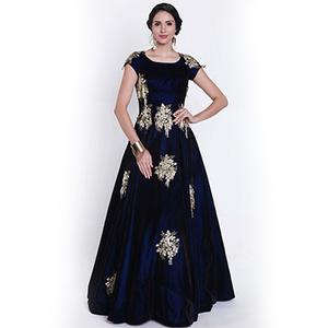 Dazzling Navy Blue Designer Partywear Embroidered Viscose Velvet Gown