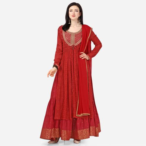 Stylee Lifestyle - Maroon Colored Party Wear Embroidered Chiffon Anarkali Suit