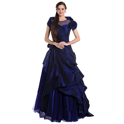 Stylish Navy Blue Designer Party wear Embroidered Heavy Taffeta Silk Gown