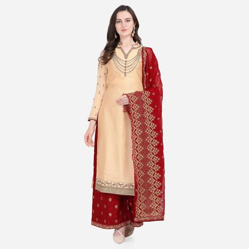 Stylee Lifestyle - Beige Colored Party Wear Embroidered Satin Sharara Suit