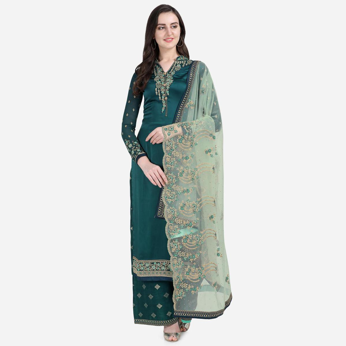 Stylee Lifestyle - Navy Blue Colored Party Wear Embroidered Satin Sharara Suit
