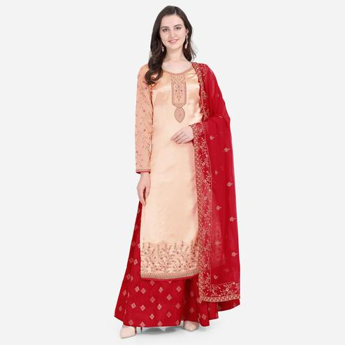 Stylee Lifestyle - Peach Colored Party Wear Embroidered Satin Lehenga Kameez