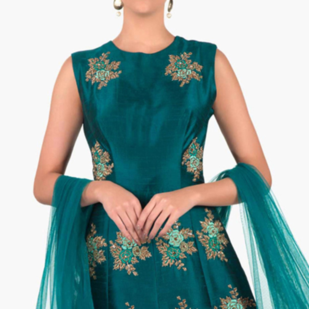 Beautiful Dark Firozi Colored Designer Partywear Embroidered Mulberry Silk Anarkali Suit