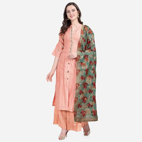 Stylee Lifestyle - Peach Colored Party Wear Embroidered Chanderi Silk Sharara Suit