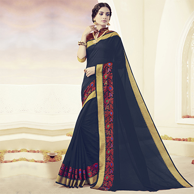 Navy Blue Embroidered & Weaving Work Saree