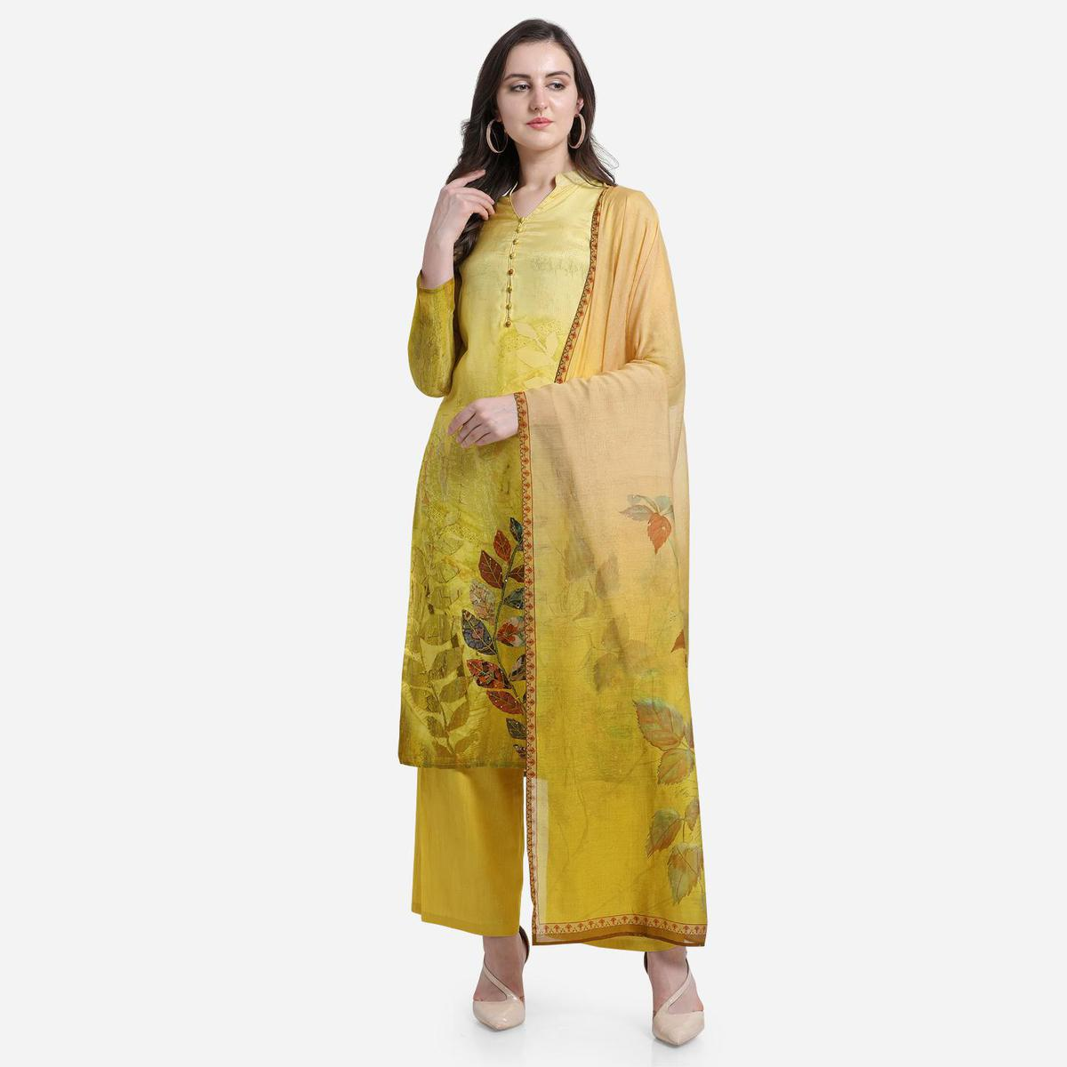 Stylee Lifestyle - Yellow Colored Casual Wear Printed Satin Dress Material