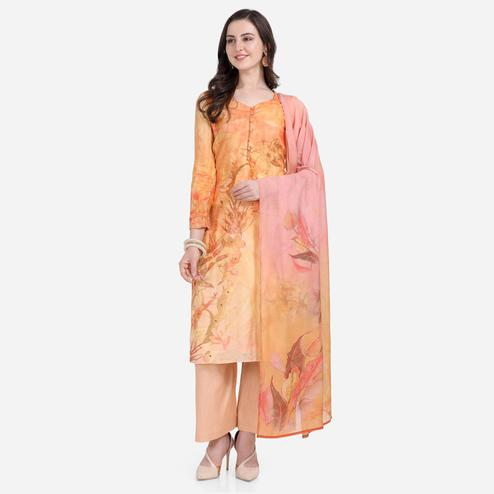 Stylee Lifestyle - Orange Colored Casual Wear Printed Satin Dress Material