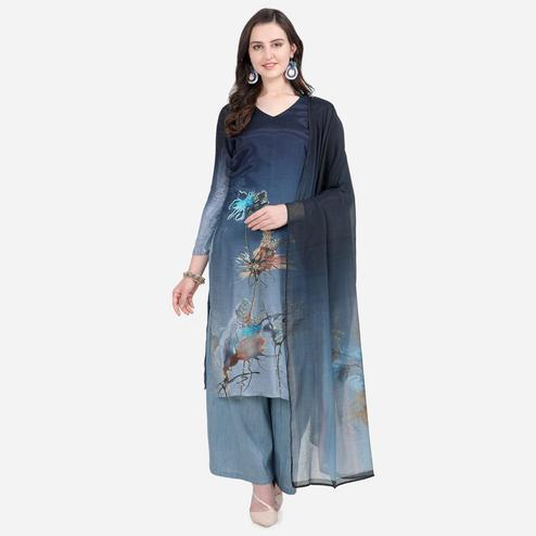 Stylee Lifestyle - Navy Blue Colored Casual Wear Printed Satin Dress Material