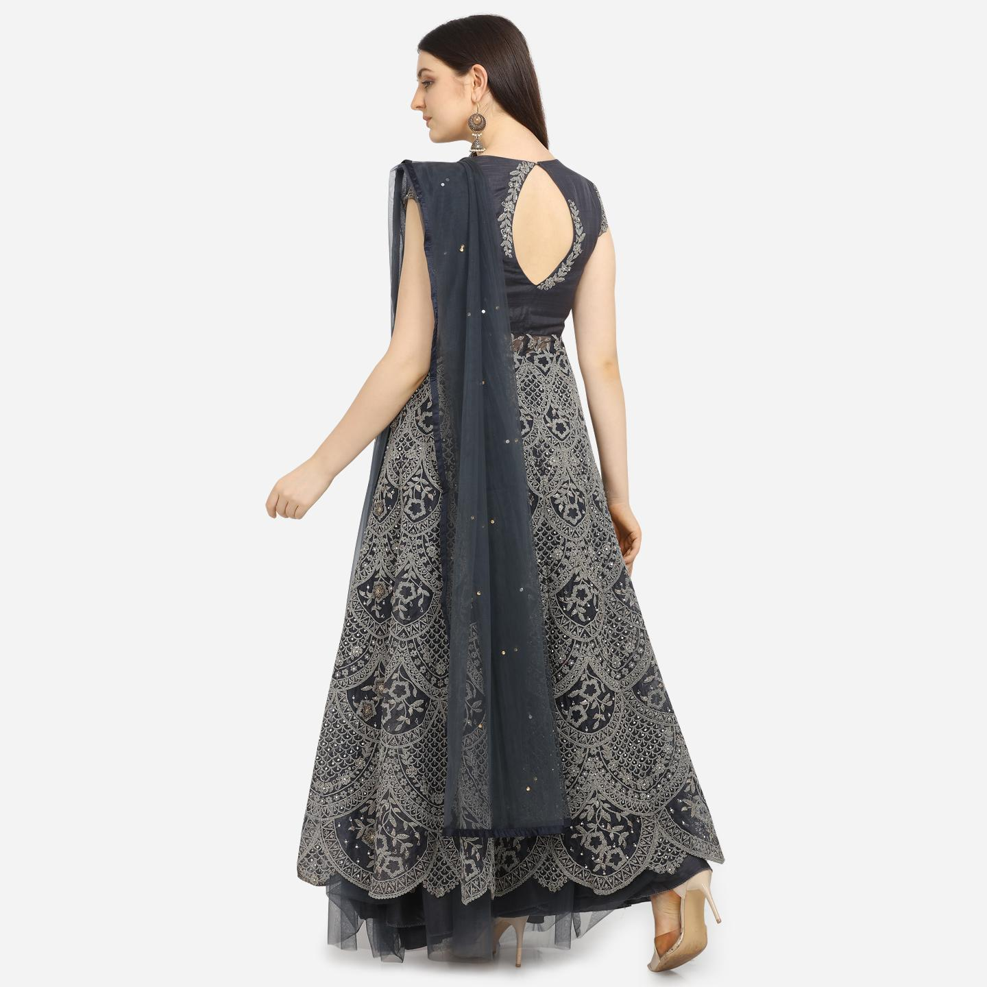Stylee Lifestyle - Grey Colored Party Wear Embroidered Net Lehenga Kameez