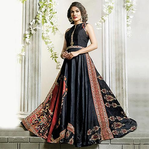 Stunning Black Designer Partywear Digital Printed Cotton Gown