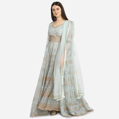 Stylee Lifestyle - Turquoise Colored Party Wear Embroidered Net Anarkali Suit