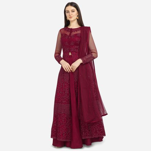 Stylee Lifestyle - Maroon Colored Party Wear Embroidered Net Lehenga Kameez