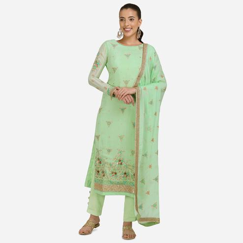 Stylee Lifestyle - Green Colored Party Wear Embroidered Pure Chiffon Dress Material
