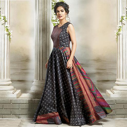 Ravishing Gray Designer Partywear Digital Printed Cotton Gown