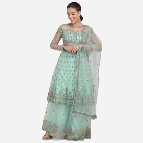 Stylee Lifestyle - Mint Green Colored Party Wear Embroidered Net Sharara Suit