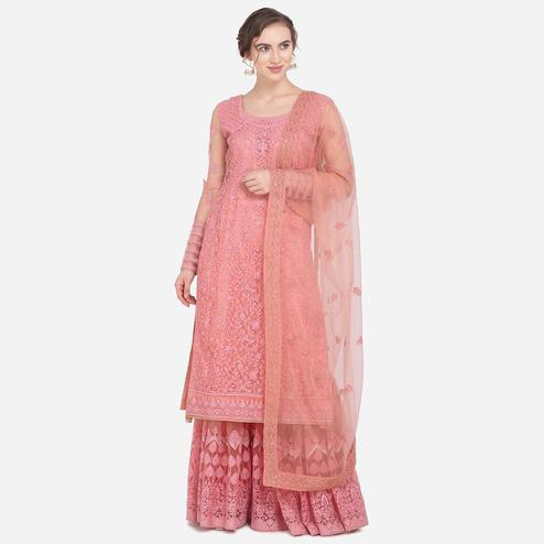 Stylee Lifestyle - Peach Colored Party Wear Embroidered Net Sharara Suit