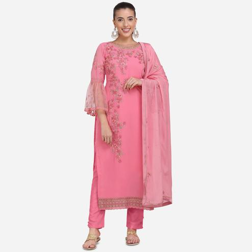 Stylee Lifestyle - Pink Colored Party Wear Embroidered Georgette Dress Material