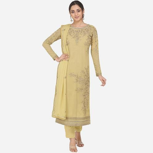 Stylee Lifestyle - Lemon Yellow Colored Party Wear Embroidered Georgette Dress Material