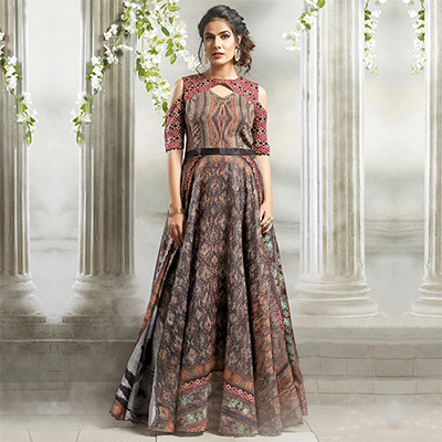 Lovely Multi Colored Designer Partywear Digital Printed Cotton Gown