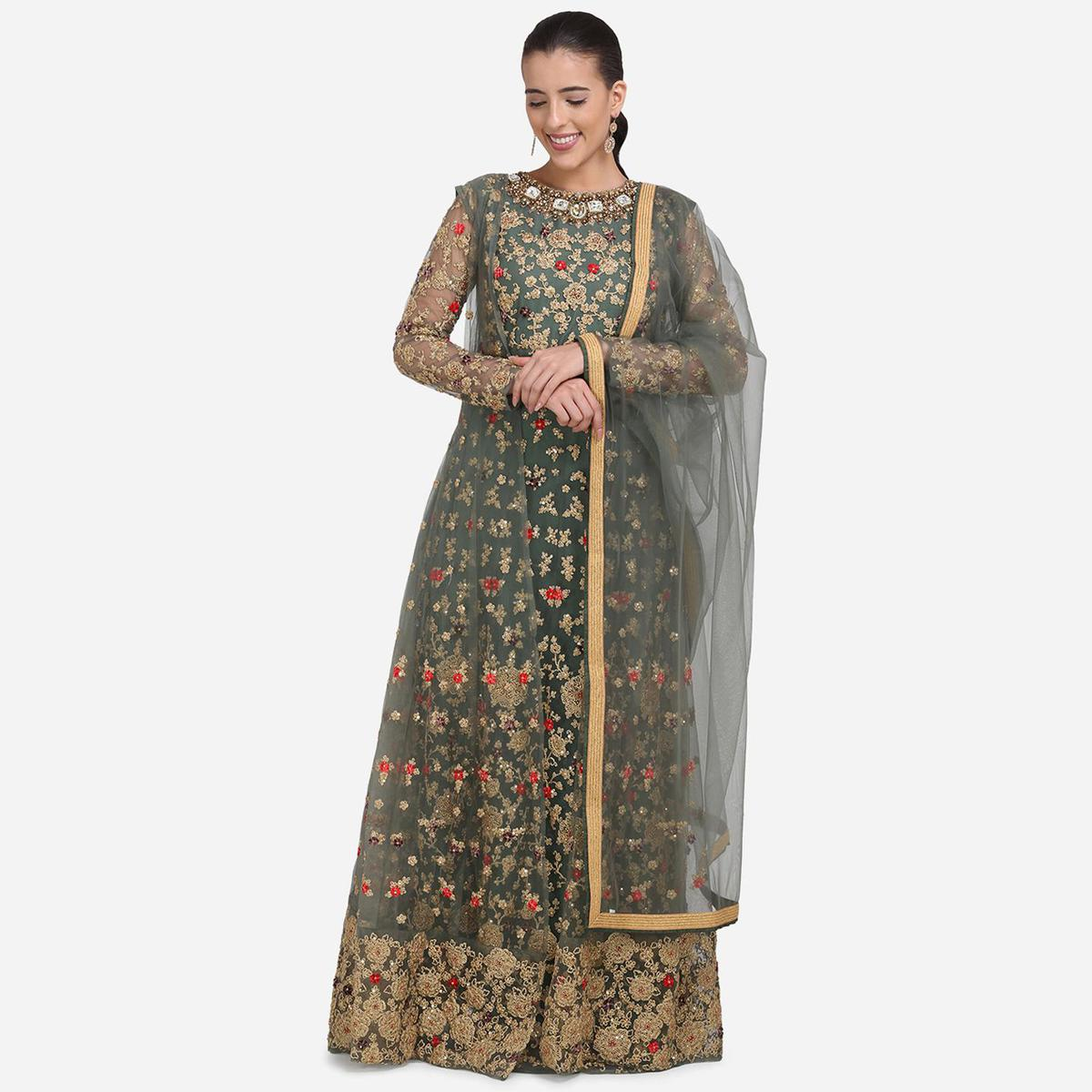 Stylee Lifestyle - Olive Green Colored Party Wear Embroidered Net Anarkali Suit