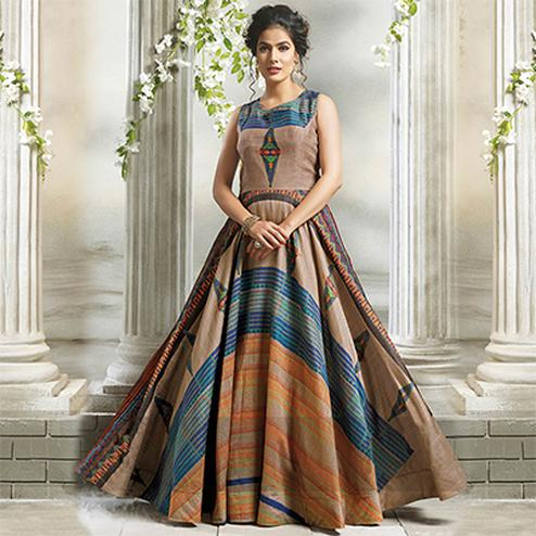Attractive Beige Designer Partywear Digital Printed Cotton Gown