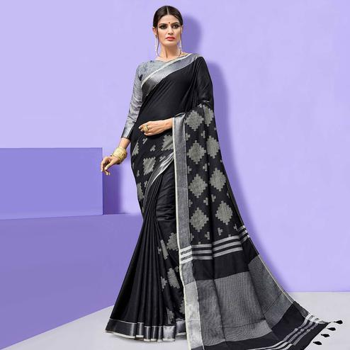 Amazing Black Colored Partywear Printed Linen Cotton Saree