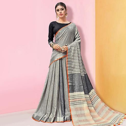 Gorgeous Grey Colored Partywear Printed Linen Cotton Saree