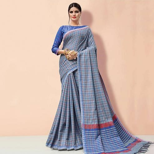 Blissful Light Blue Colored Partywear Printed Linen Cotton Saree