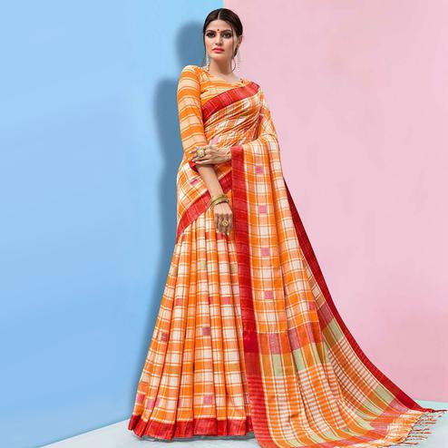 Ideal Orange Colored Partywear Printed Linen Cotton Saree