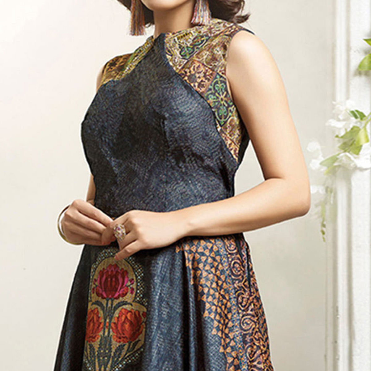 Charming Multi Colored Designer Partywear Digital Printed Cotton Gown