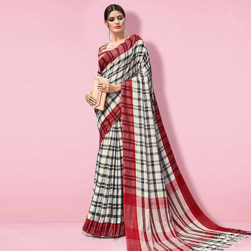 Imposing Offwhite - Black Colored Partywear Printed Linen Cotton Saree