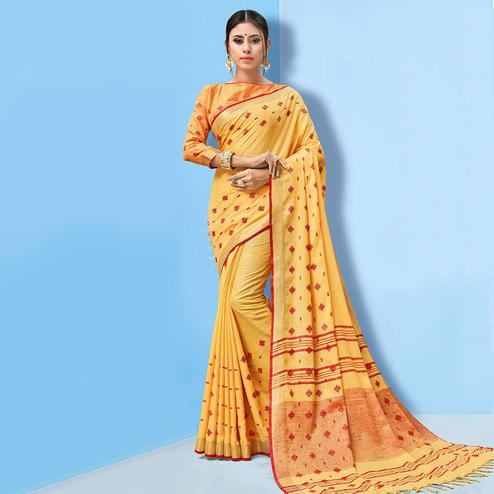 Lovely Mustard Yellow Colored Partywear Printed Linen Cotton Saree