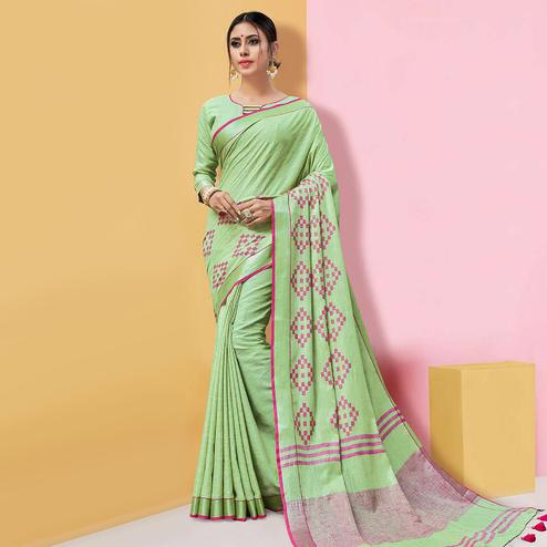 Majesty Pista Green Colored Partywear Printed Linen Cotton Saree