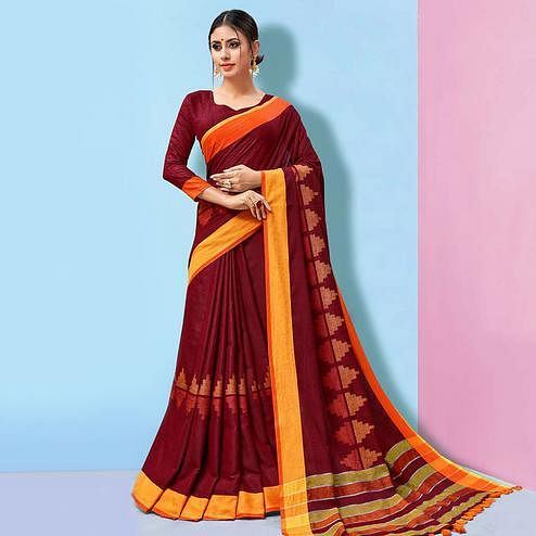 Impressive Maroon Colored Partywear Printed Linen Cotton Saree