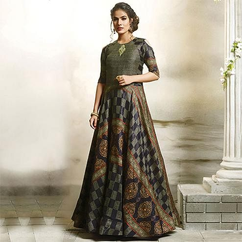 Dazzling Green-Blue Designer Partywear Digital Printed Cotton Gown