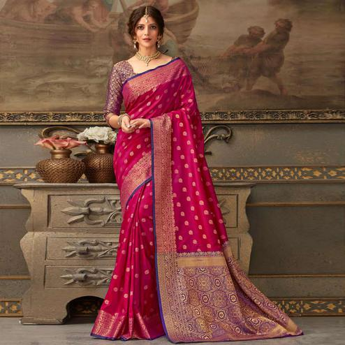 Intricate Pink Colored Festive Wear Woven Handloom Silk Saree