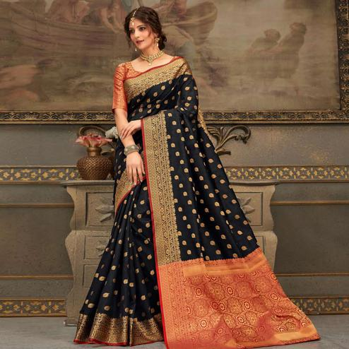 Arresting Black Colored Festive Wear Woven Handloom Silk Saree
