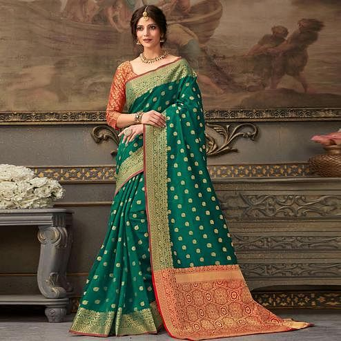 Desirable Green Colored Festive Wear Woven Handloom Silk Saree