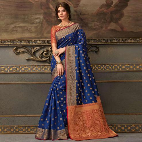 Exotic Royal Blue Colored Festive Wear Woven Handloom Silk Saree