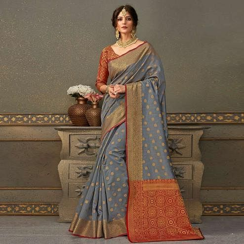 Sophisticated Grey Colored Festive Wear Woven Handloom Silk Saree