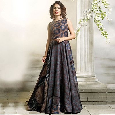 Adorable Multi Colored Designer Partywear Digital Printed Cotton Gown