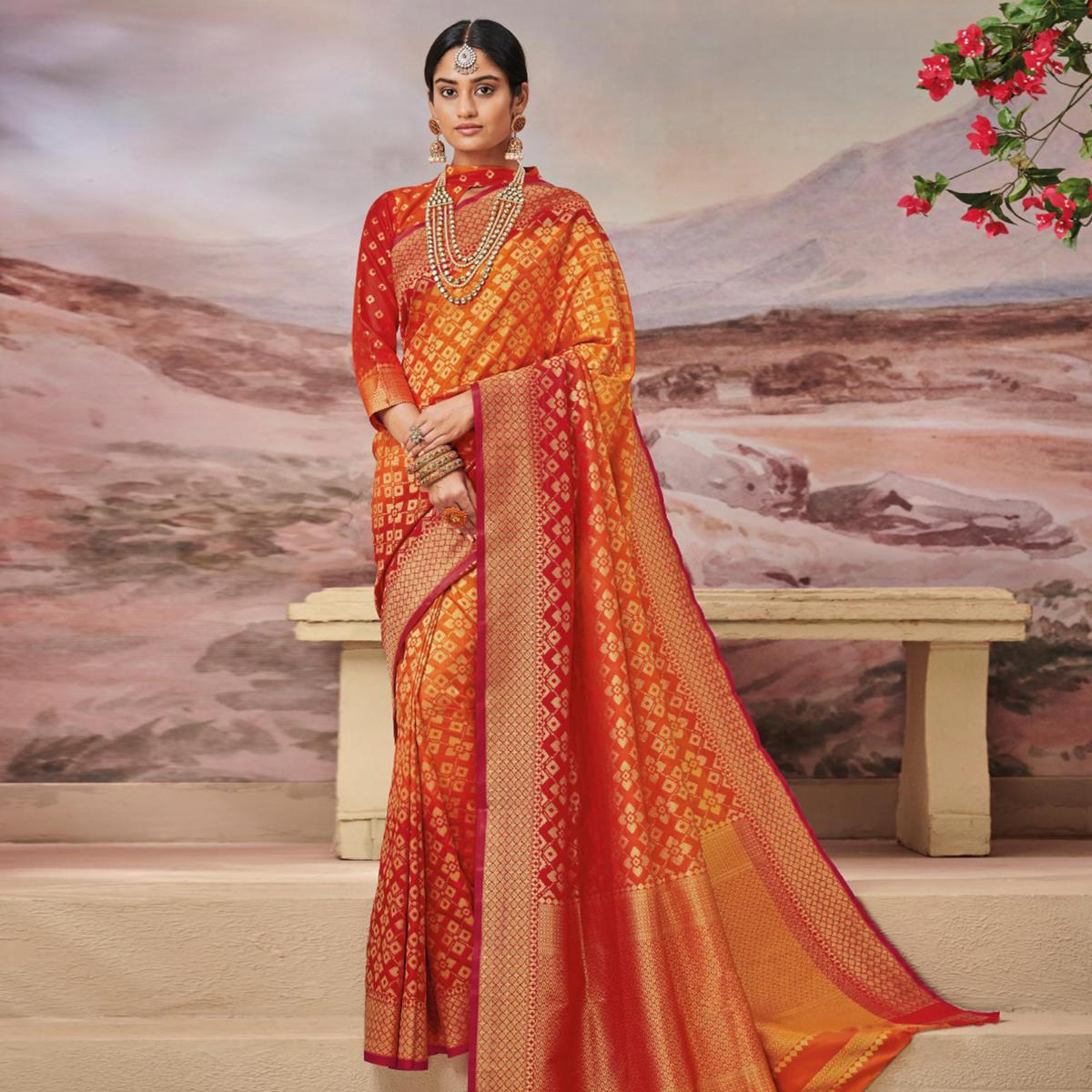 Glowing Yellow - Red Colored Festive Wear Woven Soft Silk Saree