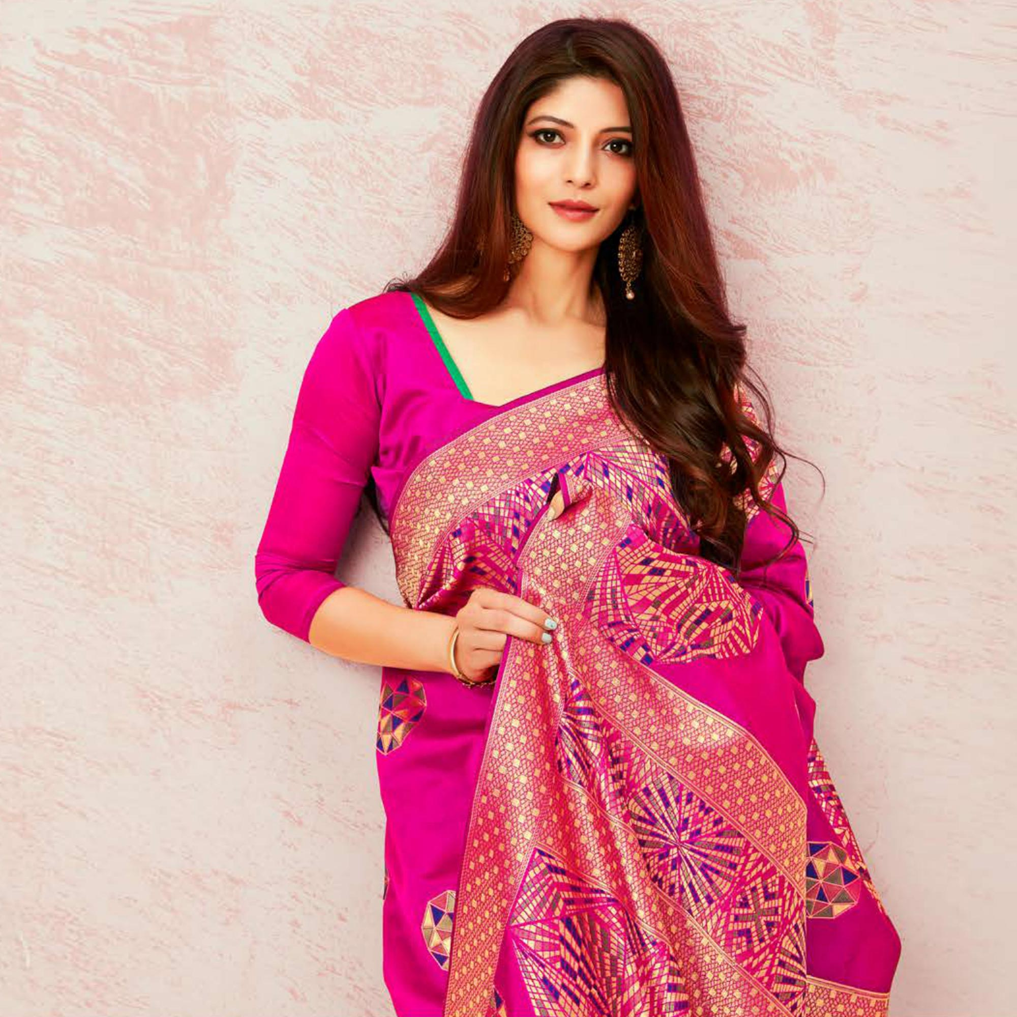 Exceptional Pink Colored Festive Wear Woven Soft Silk Saree