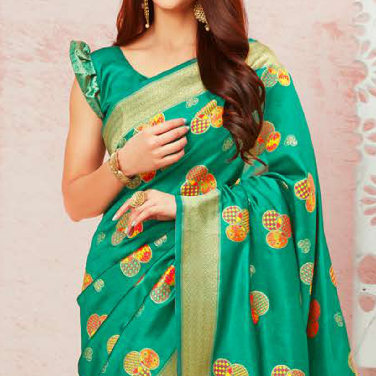 Gleaming Turquoise Green Colored Festive Wear Woven Soft Silk Saree
