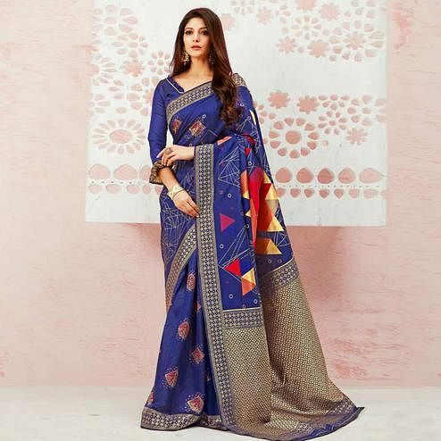 Refreshing Blue Colored Festive Wear Woven Soft Silk Saree